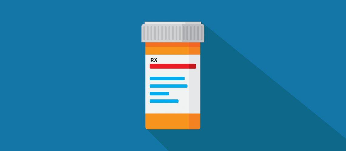 Illustration of orange pill bottle on dark blue background